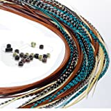Feather Hair Extensions, 100% Real Rooster Feathers, 20 Long Thin Loose Individual Feathers Plus 20 Beads and Loop Tool Kit, By Sexy Sparkles