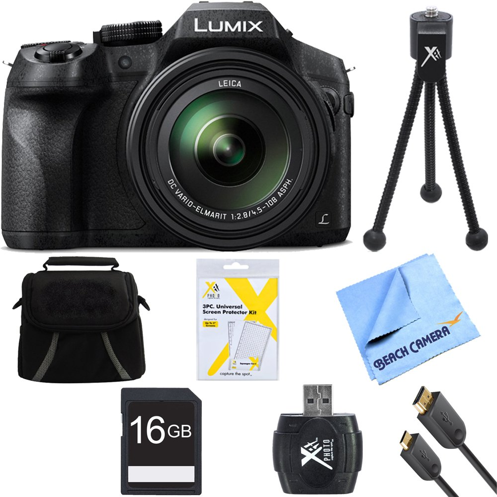 Panasonic DMC-FZ300K LUMIX FZ300 4K 24X F2.8 Digital Camera Black Bundle includes DMC-FZ300K LUMIX FZ300 4K Digital Camera, Gadget Bag, 16GB Memory Card ..