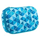ZIPIT Colorz Pencil Case/Pencil Box/Storage Box/Cosmetic Makeup Bag, Blue (Color: Blue Triangles)