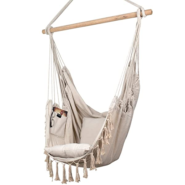 Bedroom 2 Seat Cushions Included Outdoor Bormart Hanging Rope Hammock Chair Large Cotton Weave Porch Swing Seat Comfortable And Durable Hanging Chair For Yard Blue Indoor Porch Patio Lawn Garden Hammocks