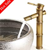 Bathroom Bowl Vessel Sink Lavatory Faucet Antique Brass Commercial Single Handle One Hole Deck Mount Tall Body Chrome (Color: Antique Brass)