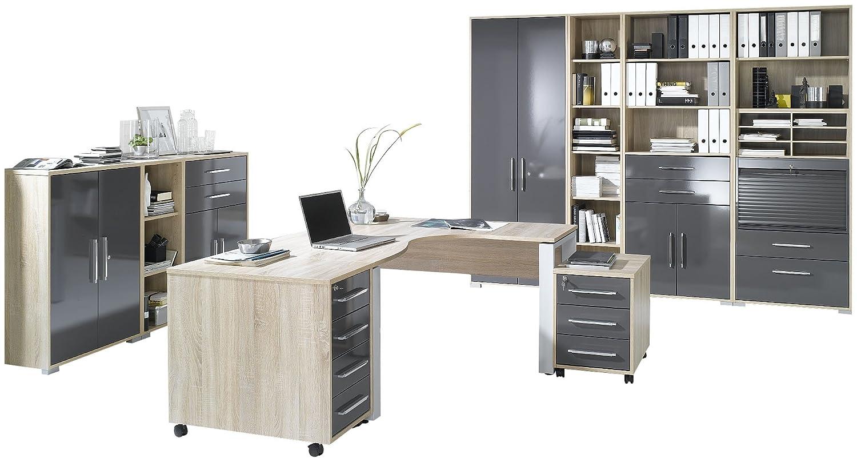 MAJA-Möbel 1203 2574 Büroprogramm SYSTEM, Sonoma-Eiche-Nachbildung - grau Hochglanz