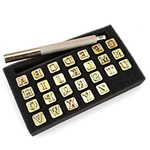 Yoption 27 Pieces Leathercarft Stamping Tool Set, 26 Letters Alphabet Stamps Steel Punch Tool 6mm+1 Stamping Handle for Leather Craft (Tamaño: 6mm)
