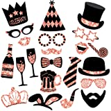 Rose Gold Photo Booth Props (No Glitter) - Mix of Hats, Lips, Mustaches, Crowns and More (22 pcs) - Durable and Vibrant - Perfect for Birthday Parties, Weddings and More (Color: Rose Gold)