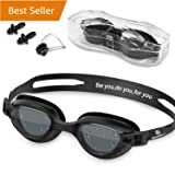 Swim Goggles - Swimming Goggles with Nose Clip  Ear Plugs, Anti Fog for Adult Men Women Youth (Black)