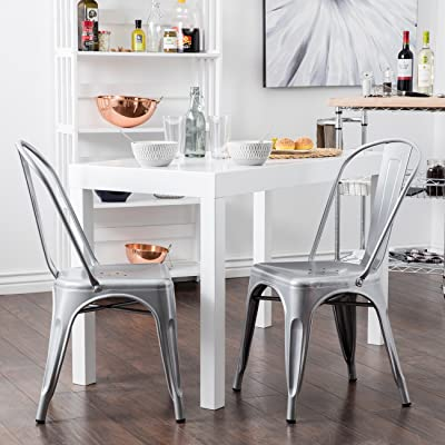 Belleze Set of 4 Vintage Style Dining Chairs Steel High Back Side, silver