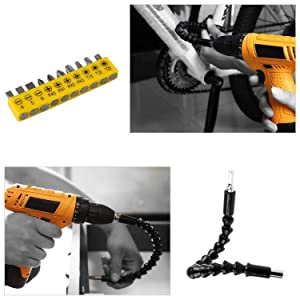 Yosoo Flexible Shaft Bits Extention Screwdriver Drill Bit Holder Connecting 290mm (with Drill Bit Set) (Color: with 10pcs Drill Bit Set)