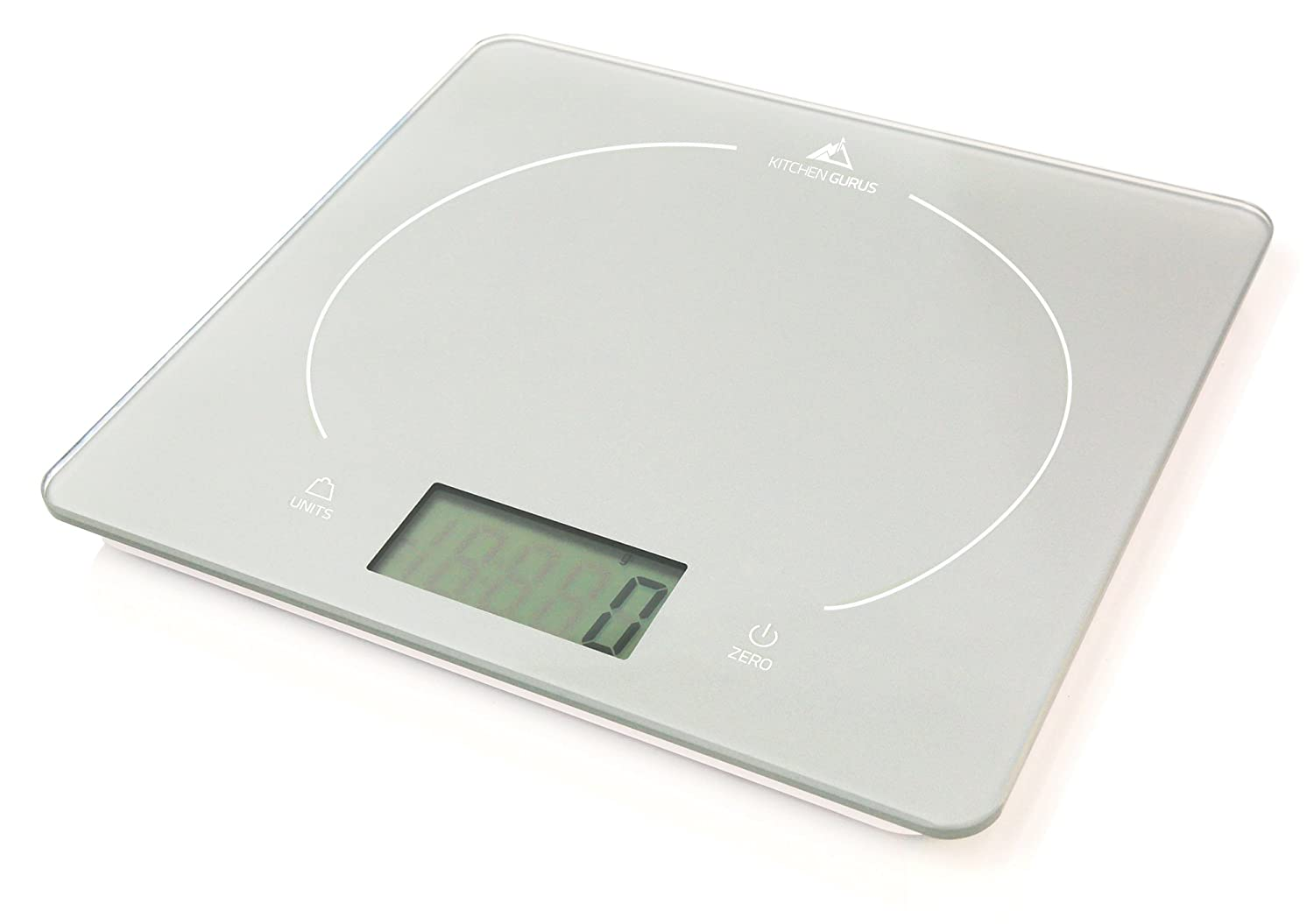 kitchen gurus glass top digital food scale ultra slim design and