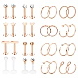 Jstyle 32Pcs Stainless Steel Nose Rings Hoop Labret Monroe Lip Ring Tragus Cartilage Helix Ear Piercing Jewelry 16G/20G Rose-gold (Color: 32pcs Rose Gold)