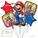 Andaz Press Balloon Bouquet Party Kit with Gold Cards & Gifts Sign, Mario Brothers Birthday Foil Mylar Balloon Decorations, 1-Set (Color: Mario Brothers)