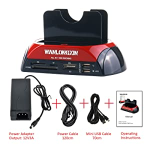 WANLONGXIN 875J Dual Slots USB 2.0 to SATA IDE HDD Docking Station with Card Reader for 2.5 3.5 Inch IDE SATA Hard Drive (No Support The WD IED Hard Drive) (Color: Red and Black)
