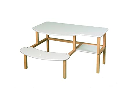 Wild Zoo Furniture Childs Wooden Computer Desk for 1 to 2 Kids, Ages 5 to 10, White