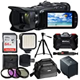Canon VIXIA HF G21 Full HD Camcorder + Canon Soft Carrying Case SC-A80 + 64GB Memory Card + LED Video Light + 3 Piece Filter Kit 58mm + Quality Tripod + Hi-Speed SD USB Card Reader – Accessory Bundle