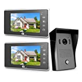 1byone Video Doorbell Kit, 7-inch Color Monitors and Surface Mounted HD Camera Video Doorphone, Control Two Locks and Night Version Intercom System –Black (Tamaño: 13.3 x 11.7 x 4.1 inches)