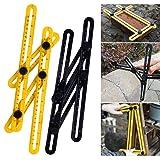 Angle Ruler, Angle Measurement Tool,Smartdoo Template Tool Multi-Angle Measuring Ruler General Tools for Carpenter(black and yellow(plastic)) (Color: 2pcs)