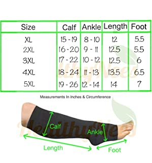 HealthyNees Closed Toe Extra Big Wide Calf Shin Plus Size 20-30 mmHg Compression Grade Leg Length Swelling Circulation Women Men Socks (Black, Extra Wide Calf 5XL) (Color: Black, Tamaño: Extra Wide Calf 5XL)