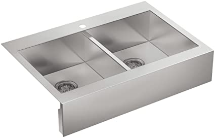 Kohler K-3944-1-NA Single Hole Stainless Steel Sink with Shortened Apron-Front for 36-Inch Cabinet Vault Top-Mount Double Basin, Stainless Steel