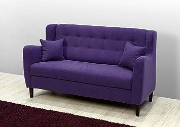 Dreams4Home 'Sofa Purple' - Sofa, Couch, Polstersofa, Maße: B/T/H:179 x 78 x 99 cm, Holzgrundgestell, Gurtunterfederung, Vollschaum, Wellenunterfederung, Fuße: Holz kolonialfarbig, Wohnzimmer, ohne Kissen, in lila, Ausfuhrung:ohne Kissen
