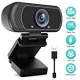 HD Webcam 1080P with Microphone, PC Laptop Desktop USB Webcams, Pro Streaming Computer Camera for Video Calling, Recording, Conferencing, Gaming, 110-Degree Widescreen Web Camera with Rotatable Clip (Color: Black)