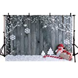 COMOPHOTO Wood Snowflake Christmas Photography Backdrop for Xmas Party Decoration Pictures Baby Children Portraits Photo Studio Background (Color: Christmas Wood, Tamaño: 7x5ft)