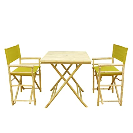 Zero Emission World Set of 1 Table and 2 Director Chairs, Olive Grenn, Square
