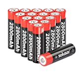 AA Batteries Rechargeable, Soluser Rechargeable AA Batteries 2800mAh AA High-Capacity AA Rechargeable Batteries 1.2V Ni-MH Low Self Discharge 16-Pack (Color: SO-AA-16P, Tamaño: AA-16Pack)
