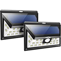 2-Pack Litom 24 LED Outdoor Motion Sensor Solar Lights with 3 LEDs (Black)