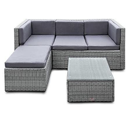 ESTEXO® Polyrattan Lounge - Garnitur, Gartenmöbel, Sitzgruppe, Couch, Rattan, 4 Sitzplätze