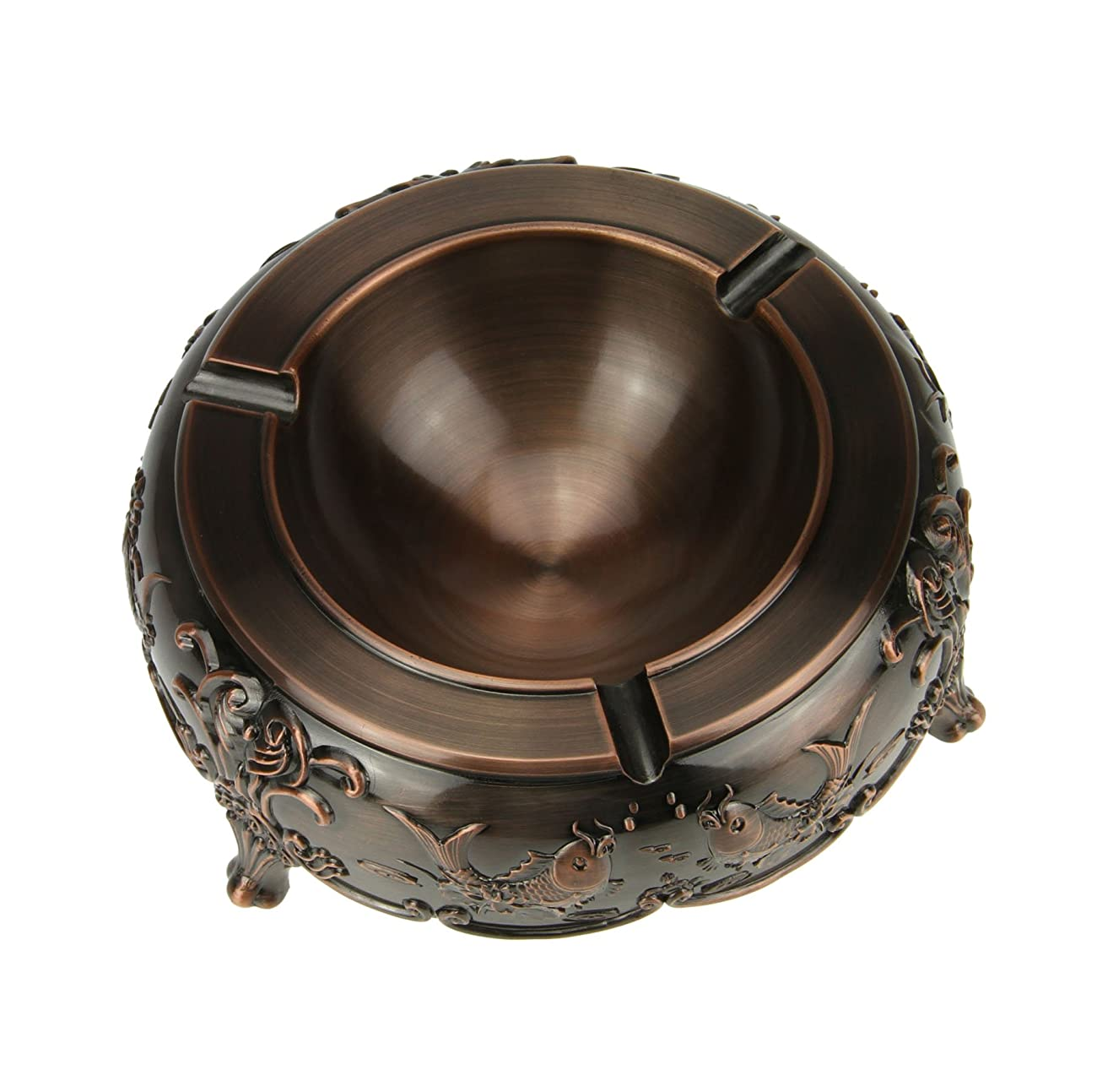 Liying Cigarette Ashtrays for Indoors and Outdoors- Vintage Look, Round, Large, Decorative Bronze Ashtrays with 3 Cigarette Slots, Fish Images Outside. 0