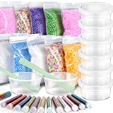 35 Pack Slime Making kit, Including 10 Pack Color Foam Balls, 8 Pcs 4.5 oz Slime Containers, 12 Bottles Glitter Powder, 5 Pcs Glue Mixing Spoons for Slime Making Craft (Color: Clear, Tamaño: DIY Slime Making Tools)