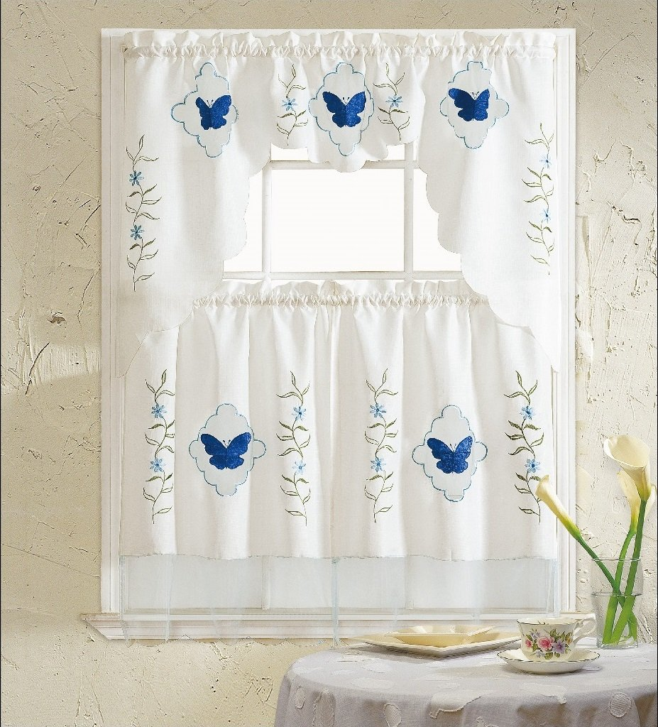 HLC.ME Fly Blue Embroidered 3-Piece Kitchen Curtain Window Treatment Set 3 piece metric socket holder set