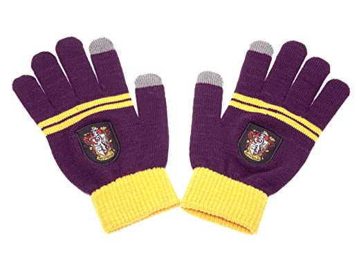 Harry Potter Touchscreen Gloves By Cinereplicas - For Smartphone & Tablets (Gryffindor Purple & Gold): Sports & Outdoors