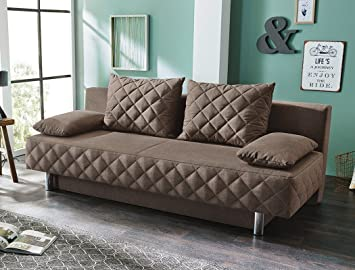 Funktionssofa Callum 200x90 cm braun Schlafsofa Couch Sofa Bettkasten Wohnzimmer