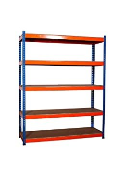 FoxHunter 5 x 5 Tier Blue Orange Super Strong Heavy Duty Metal Shelving Racking 1870H 1500W 500D 300kg Capacity Per Shelf For Garage Workshop Warehouse Shed Storage