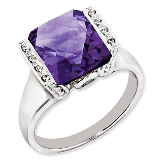 Sterling Silver Amethyst & Diamond Ring