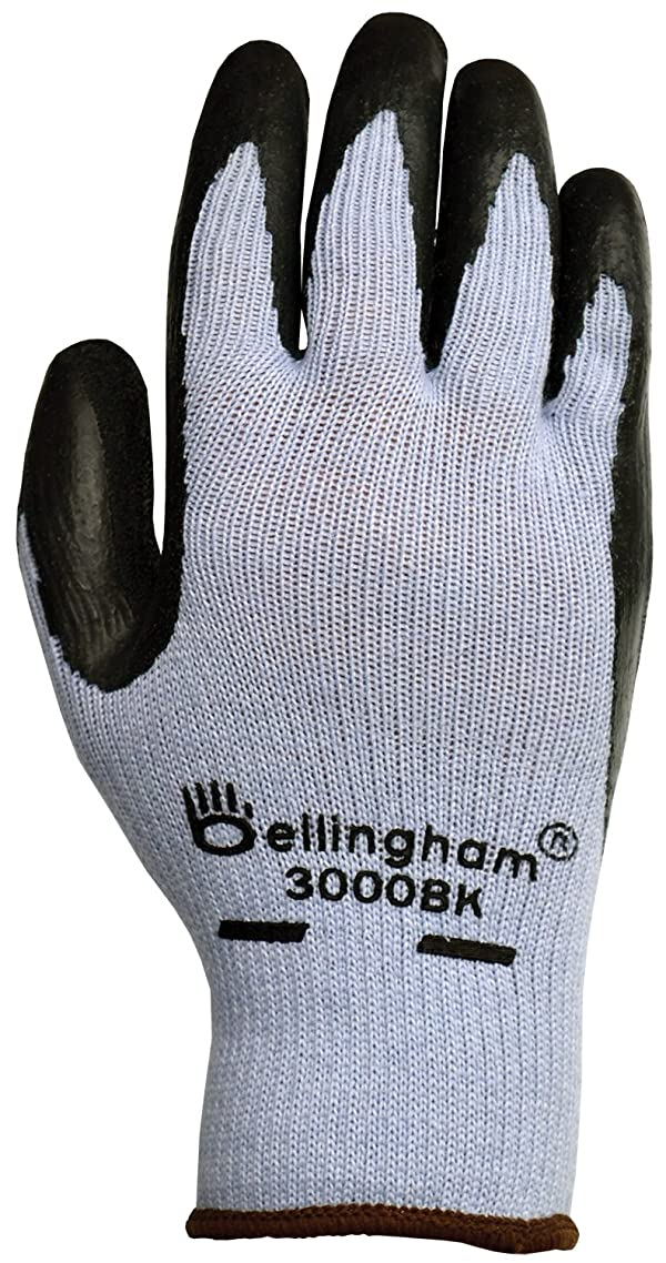 Bellingham C3000BKM Black Premium Seamless Knit Work Glove with Natural Rubber Black Latex Palm, Medium