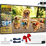 Kandoona 120 Inch Projector Screen HD Wrinkle Free 16:9 Portable Movie Screen with Hanging Holes Indoor Outdoor Projection Screen (Easy to Clean, 1.1 Gain, Carry Bag, 160° Viewing Angle, USA Seller) (Color: White, Tamaño: 120-inch 16:9 Foldable with Grommets)