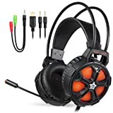 Gaming Headset, EasySMX COOL 2000 Over Ear Stereo Gaming Headphone with Mic and Volume Control, Y Splitter Cable, for PC/MAC / NEW Xbox One / PS4 / Smartphone/Nintendo Switch (Black and Orange) (Color: Black and Orange)