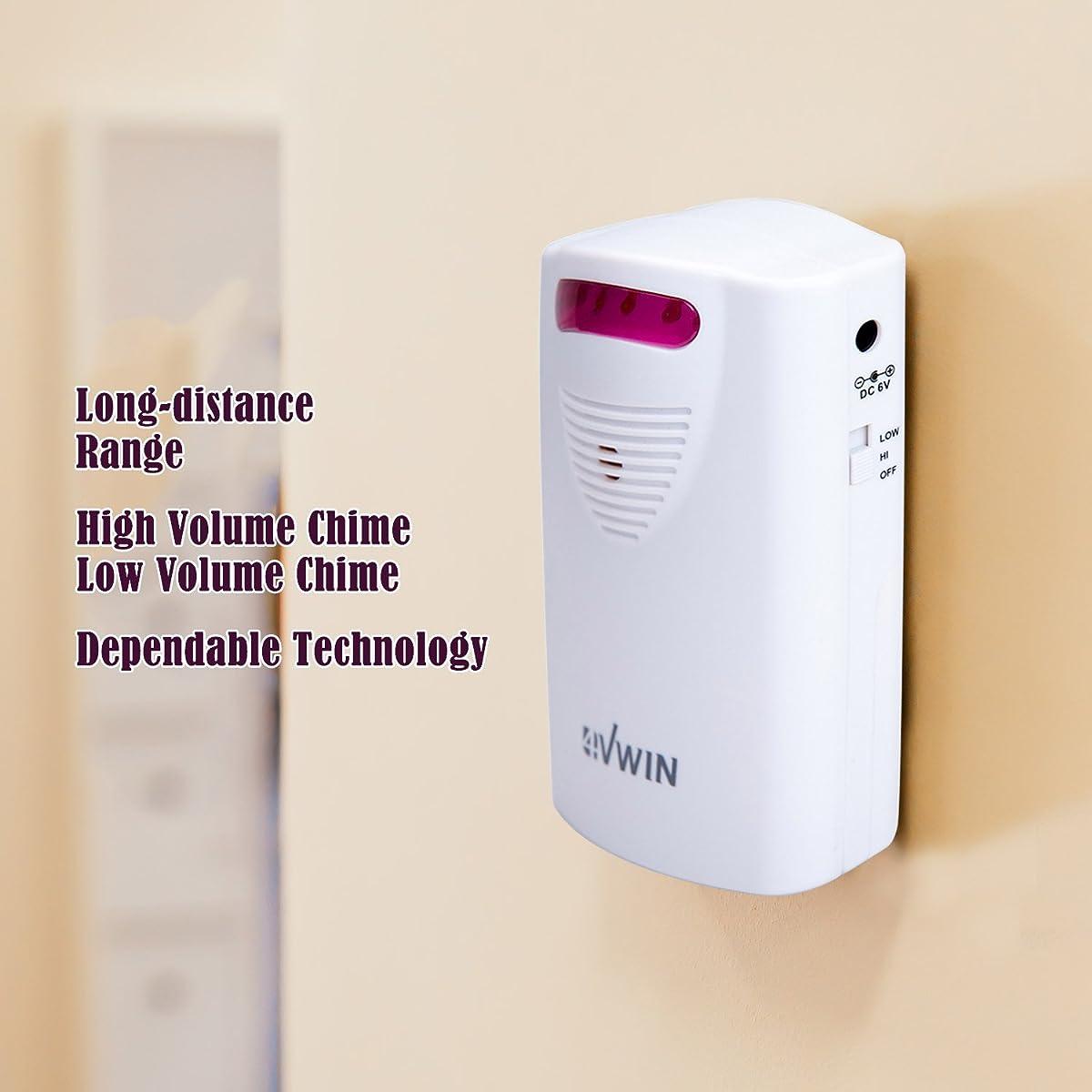 4VWIN Home Security Driveway Alarm 1 Receiver and 2 PIR Motion Sensor Detector Alert System Kit