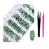 2800Pcs Nail Supplies Rhinestones - Crystal AB Nail Art 6 Mixed Sizes Round FlatBacks Rhinestones with Wax Rhinestone Pen Tweezers for Art Nails Decoration Face Makeup Clothes Shoes (Light Green AB) (Color: Light Green AB, Tamaño: one size)