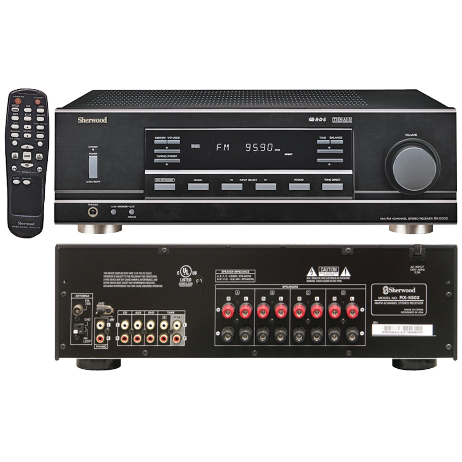 Sherwood RX5502 100 Watt x 4 RMS Dual-Zone Stereo Receiver (Black)