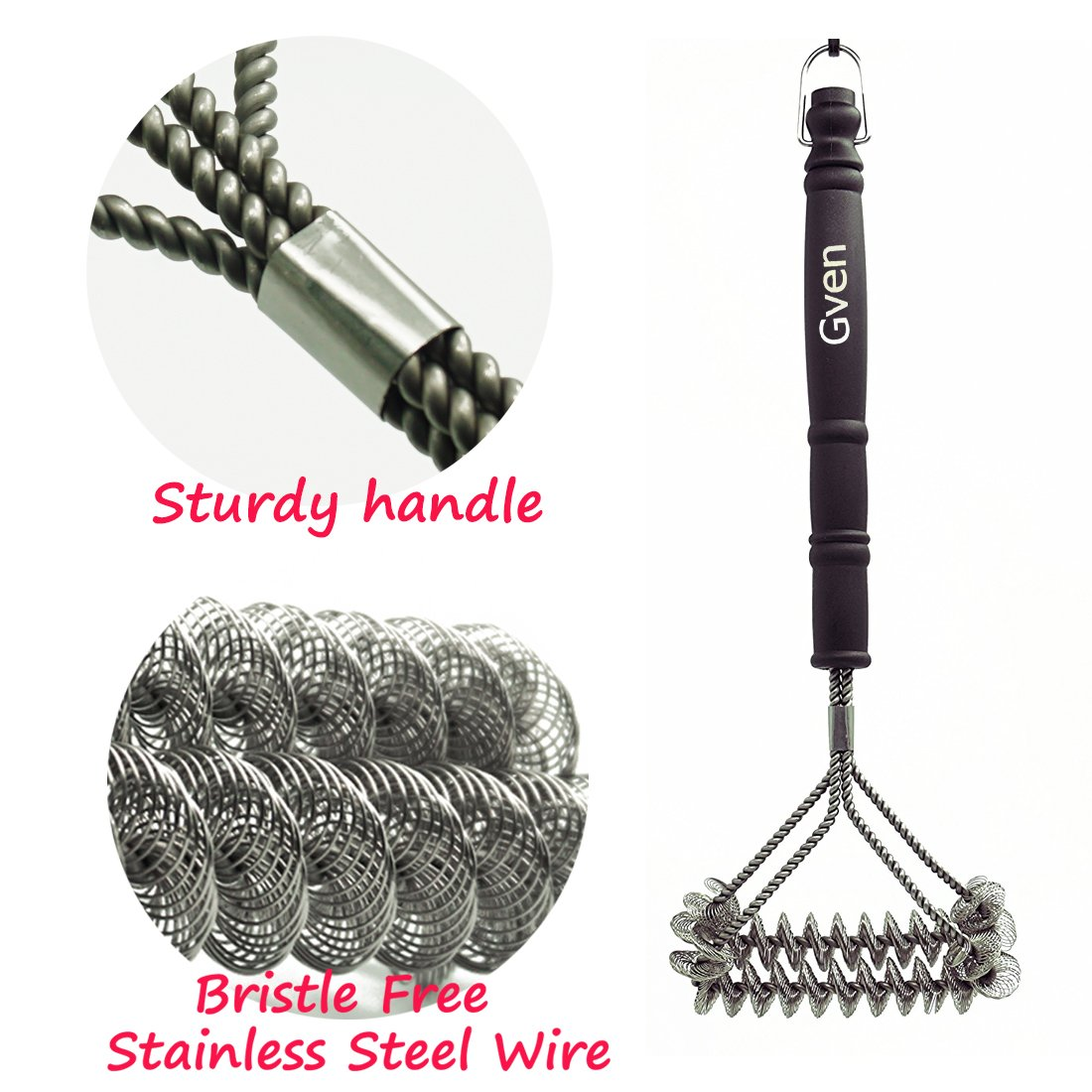 """Grill Brush Bristle Free- BBQ Grill Cleaning Brush And Scraper- Safe 18"""" Weber Grill Cleaning Kit for Stainless Steel, Ceramic, Iron, Gas & Porcelain Barbecue Grates"""