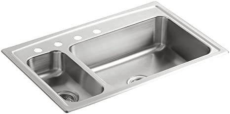 KOHLER K-3347L-4-NA Toccata High/Low Self-Rimming Kitchen Sink, Stainless Steel