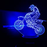 WANTASTE 3D Motocross Lamp, Optical Illusion Night Light for Room Decor & Nursery, Cool Birthday Gifts & 7 Color Changing Toys with Battery Backup for Kids, Boys, Father & Sports Guy (Color: Motocross Man)