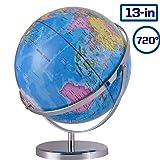 ZUEDA 13 Inch Cartography World Globe| Gyro-Assembled Revolution Geographic Globe| Desktop Political Globe for Kids & Teachers, Educational Gift (Tamaño: 13