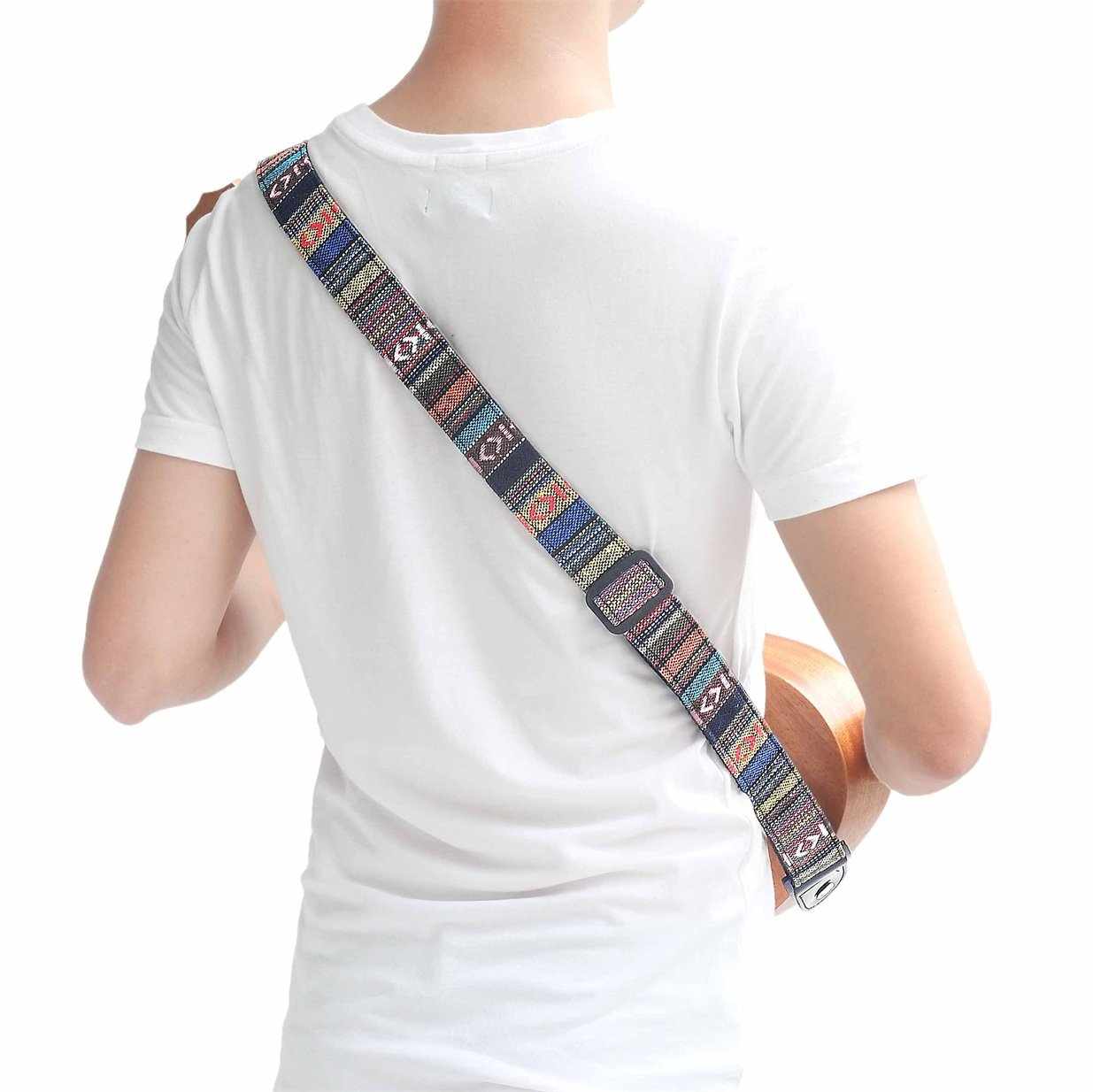 CYC Music UCS-02Hootenanny Style Guitar Straps Retro braided style 100% Cotton & Genuine Leather Adjustable length 3