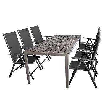 Gartengarnitur Gartentisch Aluminiumrahmen mit Polywood Tischplatte 205x90cm + 6x Hochlehner, Textilenbespannung Schwarz, Ruckenlehne 7-fach verstellbar, Aluminiumgestell Anthrazit, klappbar
