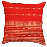 EXP Handmade Red Silk Cushion Cover/Pillow Sham with Gold Elephant Design