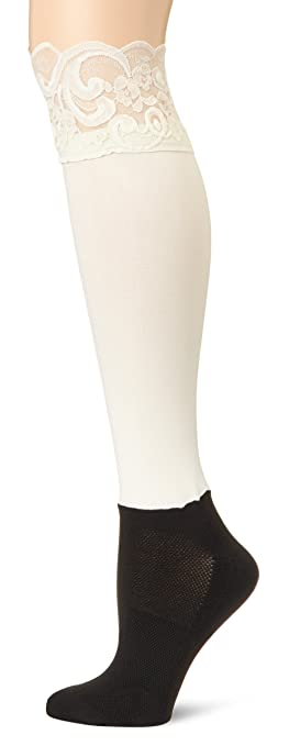 BOOTIGHTS Women's Lacie Lace Knee Hi with Ankle Sock, Cream, One Size