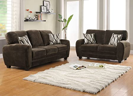 Rubin Collection Sofa w/ Love Seat Pillows in Chocolate Champion Microfiber by Homelegance